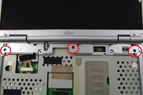 3箇所のネジを外すとここが取れて液晶画面が外せるようになります。