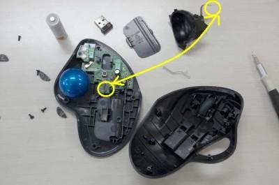 ロジクール ワイヤレスマウス M570分解図